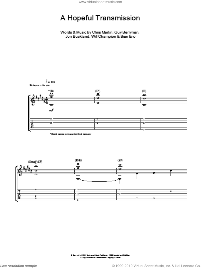 A Hopeful Transmission sheet music for guitar (tablature) by Will Champion, Coldplay, Brian Eno, Chris Martin, Guy Berryman and Jon Buckland. Score Image Preview.
