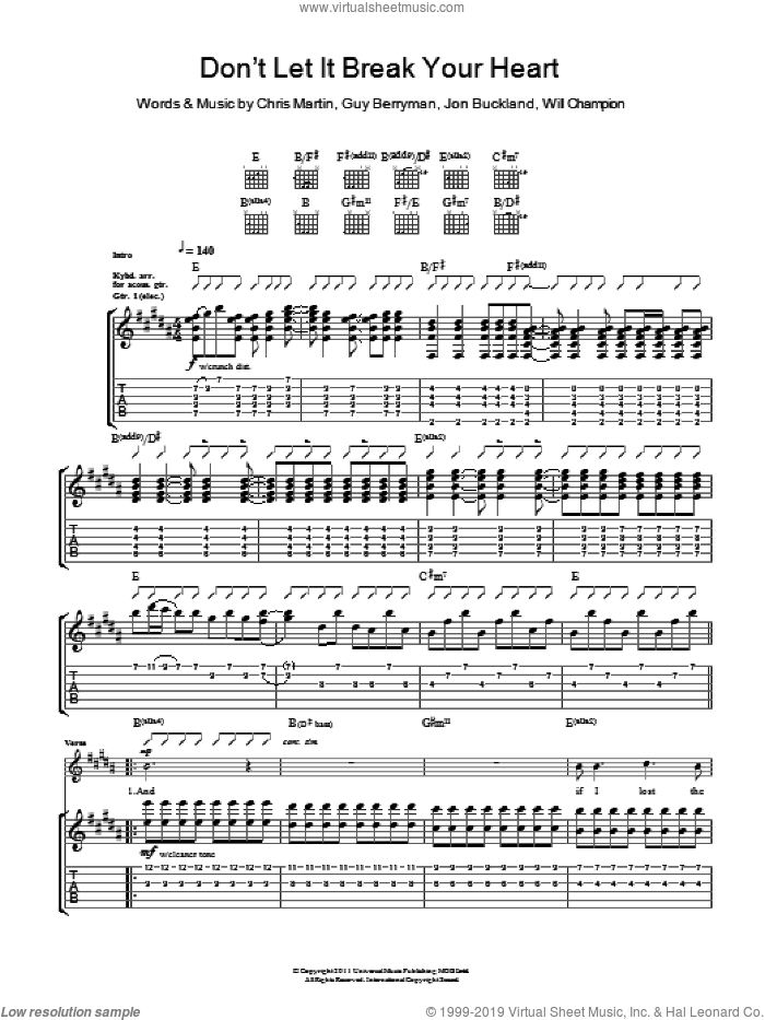Don't Let It Break Your Heart sheet music for guitar (tablature) by Will Champion, Coldplay, Chris Martin, Guy Berryman and Jon Buckland. Score Image Preview.