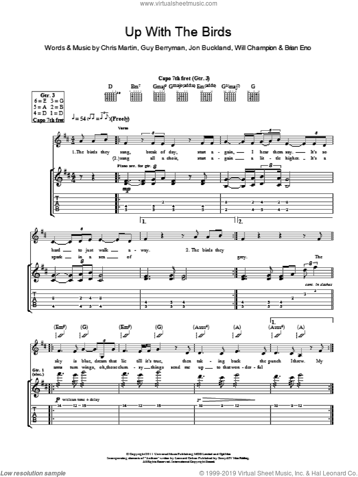 Up With The Birds sheet music for guitar (tablature) by Coldplay, Brian Eno, Chris Martin, Guy Berryman, Jon Buckland and Will Champion, intermediate