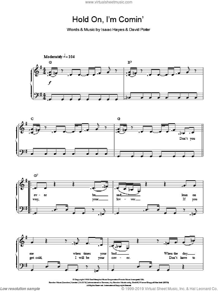 Hold On, I'm Comin' sheet music for voice and piano by Sam & Dave, David Porter and Isaac Hayes, intermediate skill level