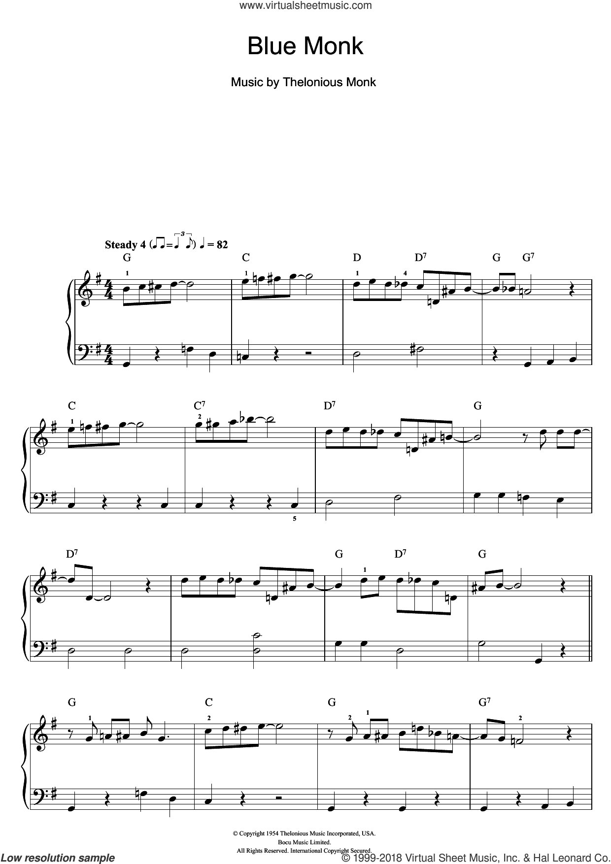 Blue Monk sheet music for piano solo (beginners) by Thelonious Monk, beginner piano (beginners)
