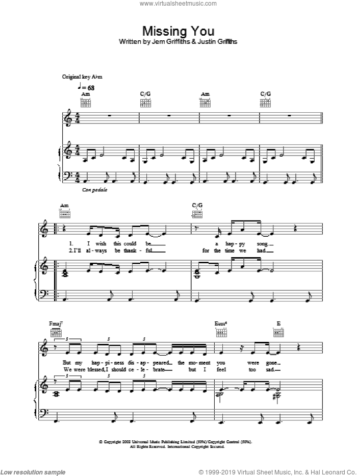 Missing You sheet music for voice, piano or guitar by Justin Griffiths