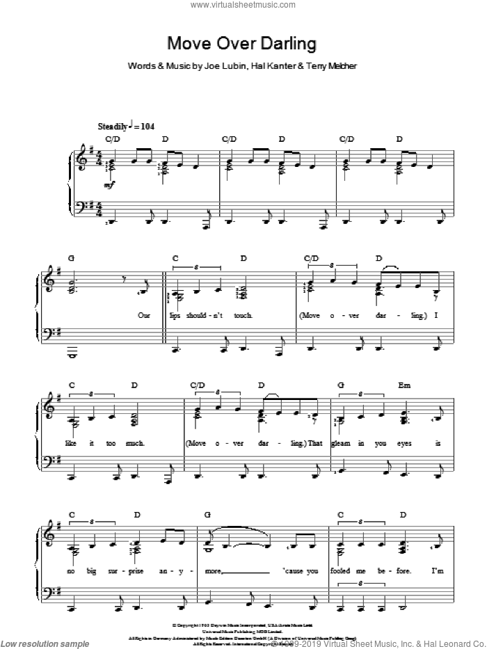 Move Over Darling sheet music for voice and piano by Terry Melcher