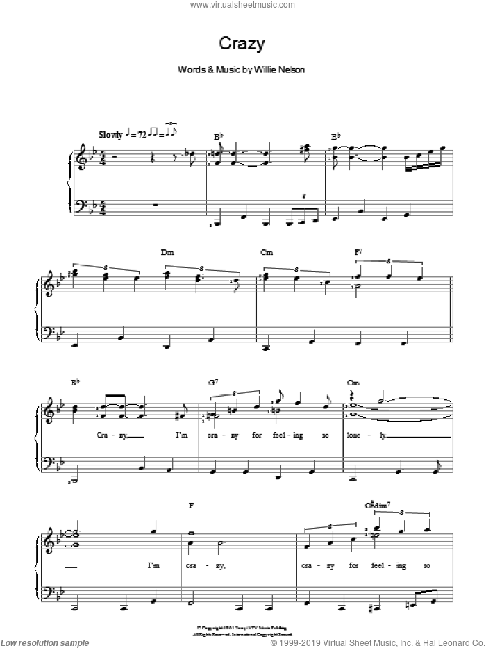 Crazy sheet music for voice and piano by Willie Nelson