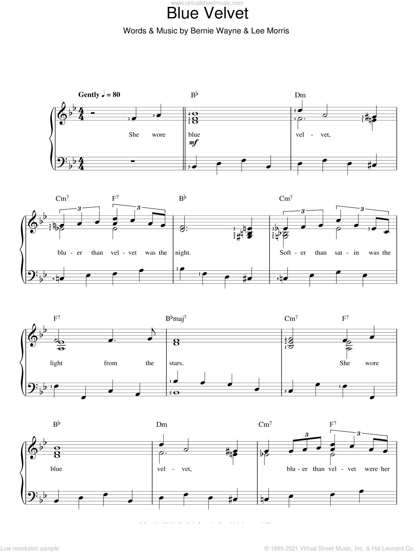 Vinton - Blue Velvet sheet music for voice and piano [PDF]
