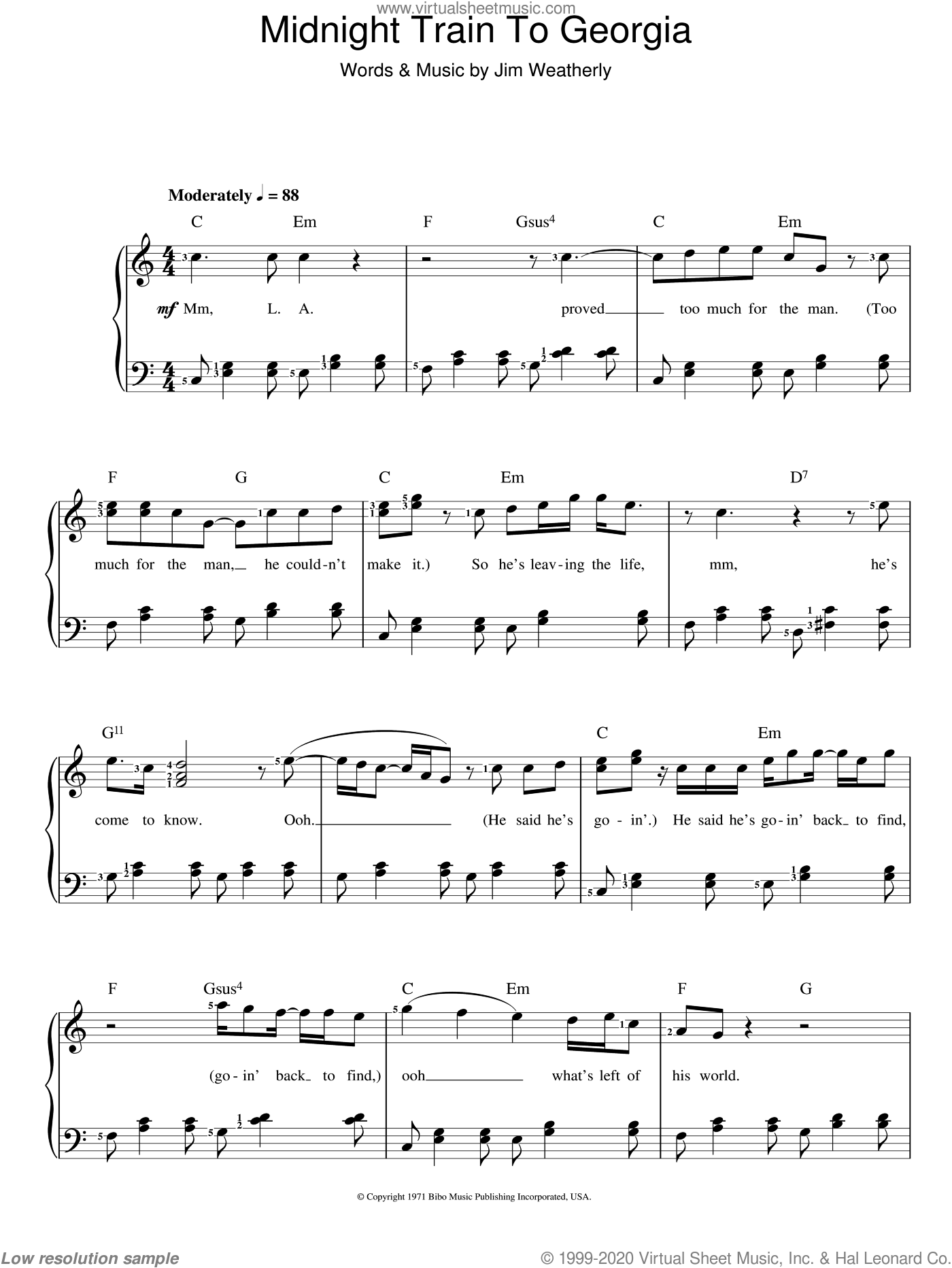 Midnight Train To Georgia sheet music for voice and piano by Gladys Knight and Jim Weatherly, intermediate skill level
