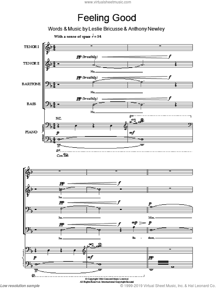Feeling Good sheet music for choir (tenor voice, bass voice, choir) by Nina Simone, Anthony Newley and Leslie Bricusse, intermediate choir (tenor voice, bass voice, choir). Score Image Preview.