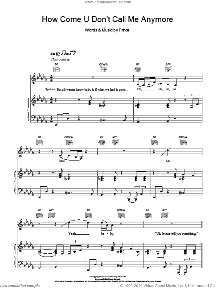 How Come U Don't Call Me Anymore sheet music for voice, piano or guitar by Prince and Alicia Keys. Score Image Preview.