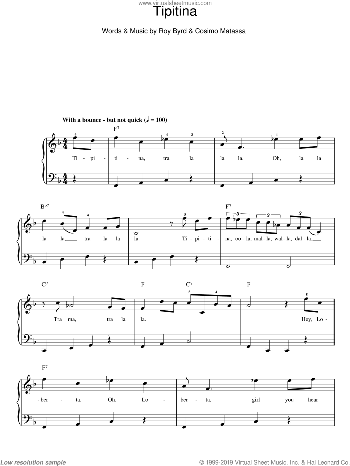 Tipitina sheet music for piano solo (chords) by Roy Byrd
