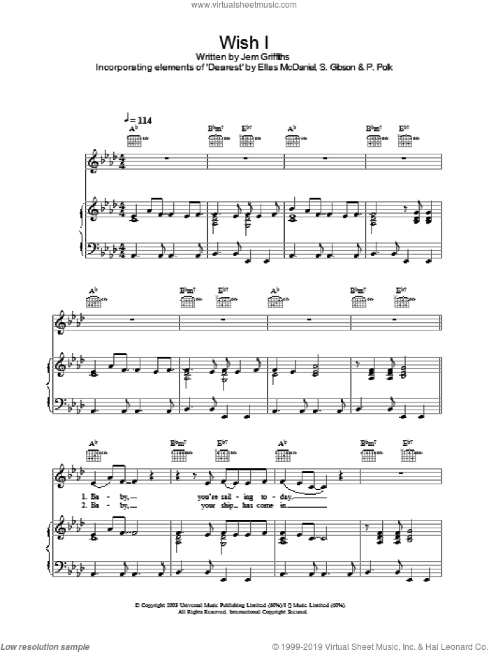 Wish I sheet music for voice, piano or guitar by S Gibson, Ellas McDaniels and Jem Griffiths. Score Image Preview.