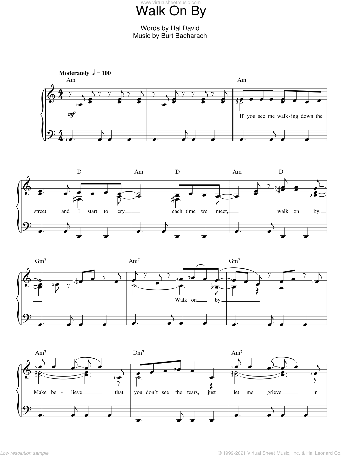 Walk On By sheet music for voice and piano by Hal David