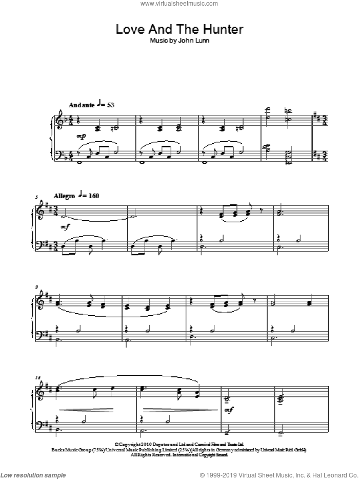 Love And The Hunter sheet music for piano solo by John Lunn, intermediate skill level