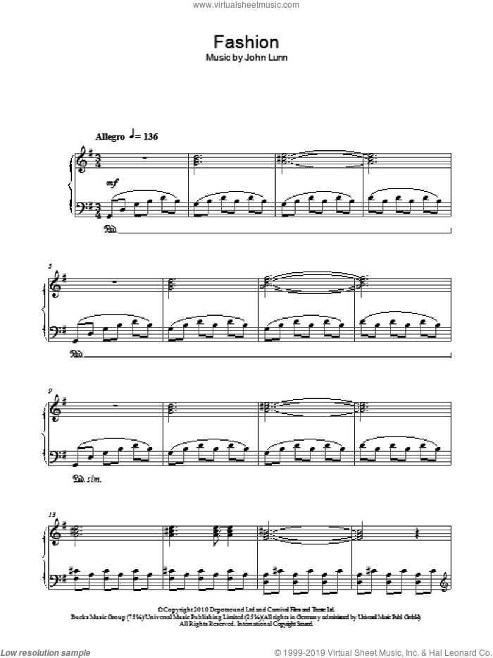 Fashion sheet music for piano solo by John Lunn, intermediate skill level