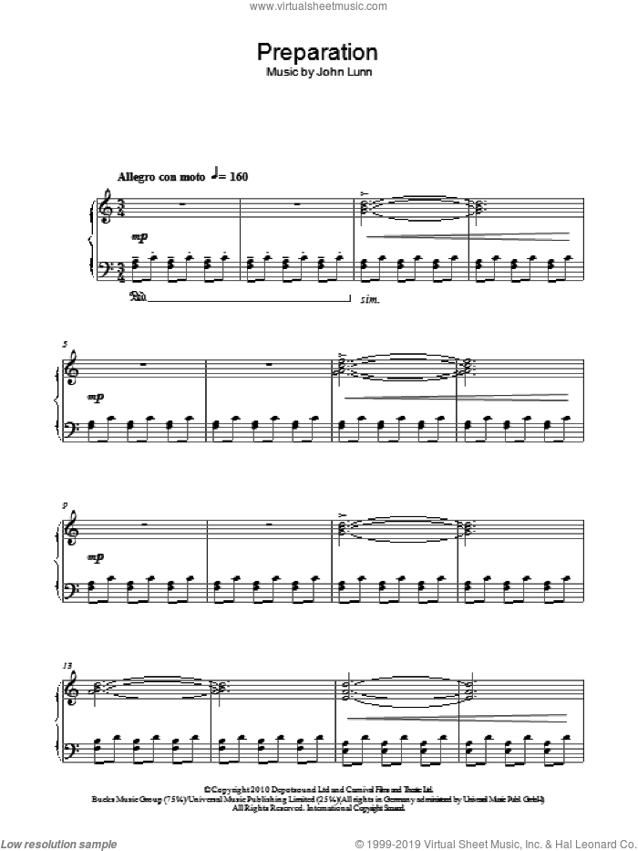 Preparation sheet music for piano solo by John Lunn, intermediate skill level