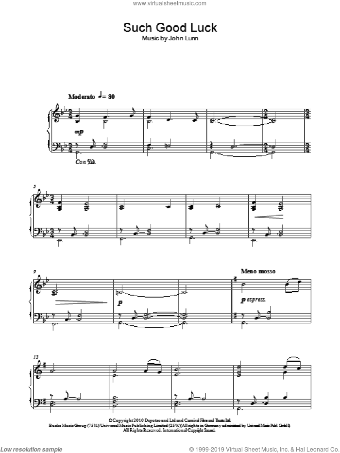 Such Good Luck sheet music for piano solo by John Lunn, wedding score, intermediate skill level