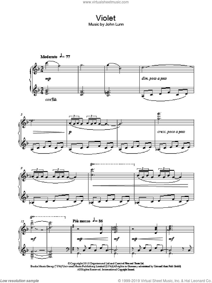 Violet sheet music for piano solo by John Lunn, intermediate. Score Image Preview.