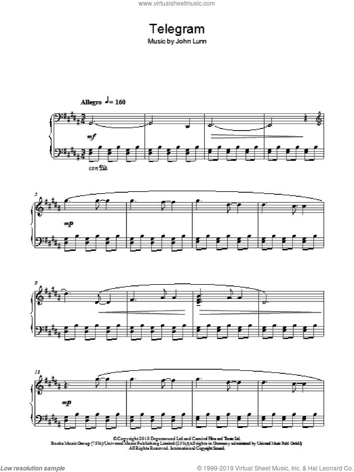 Telegram sheet music for piano solo by John Lunn. Score Image Preview.