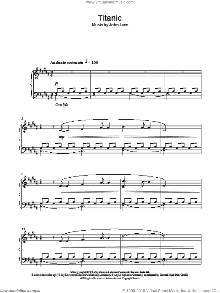 Titanic sheet music for piano solo by John Lunn. Score Image Preview.