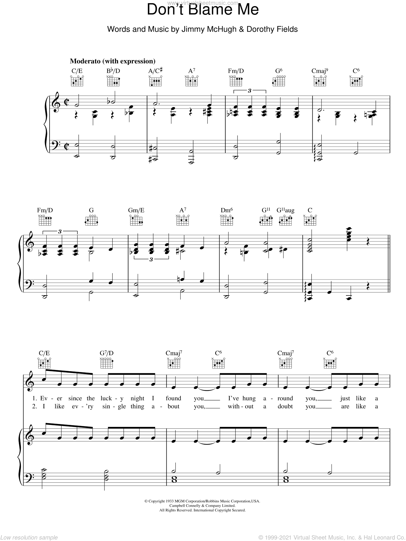 Don't Blame Me sheet music for voice, piano or guitar by Jimmy McHugh
