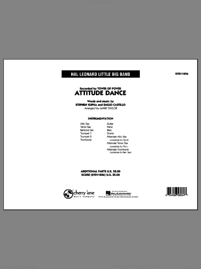 Attitude Dance (COMPLETE) sheet music for jazz band by Emilio Castillo, Mark Taylor, Stephen Kupka and Tower Of Power. Score Image Preview.