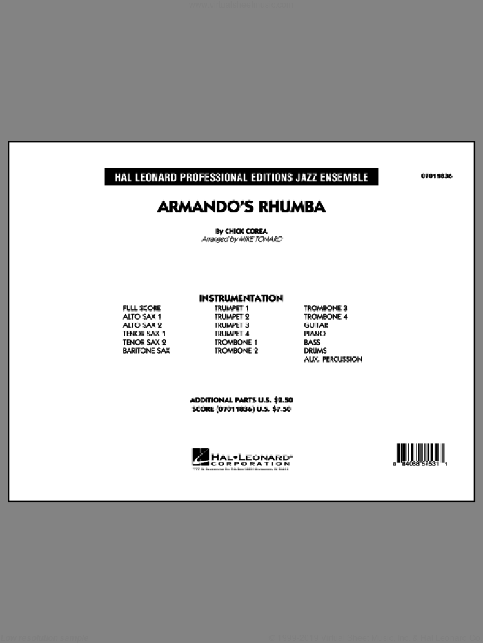 Armando's Rhumba (COMPLETE) sheet music for jazz band by Chick Corea and Mike Tomaro, intermediate. Score Image Preview.