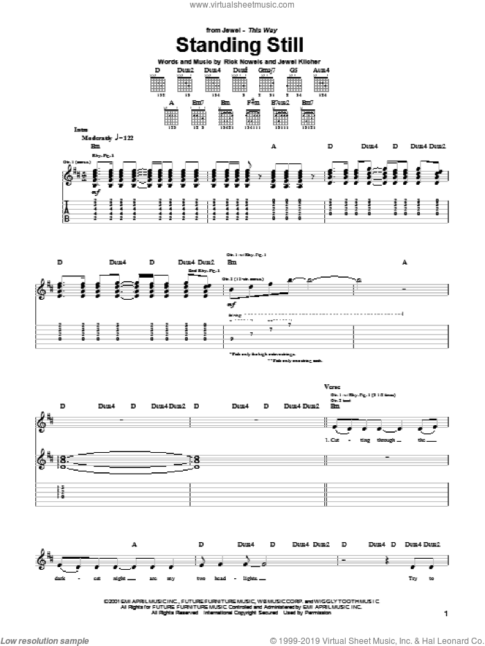 Standing Still sheet music for guitar (tablature) by Rick Nowels