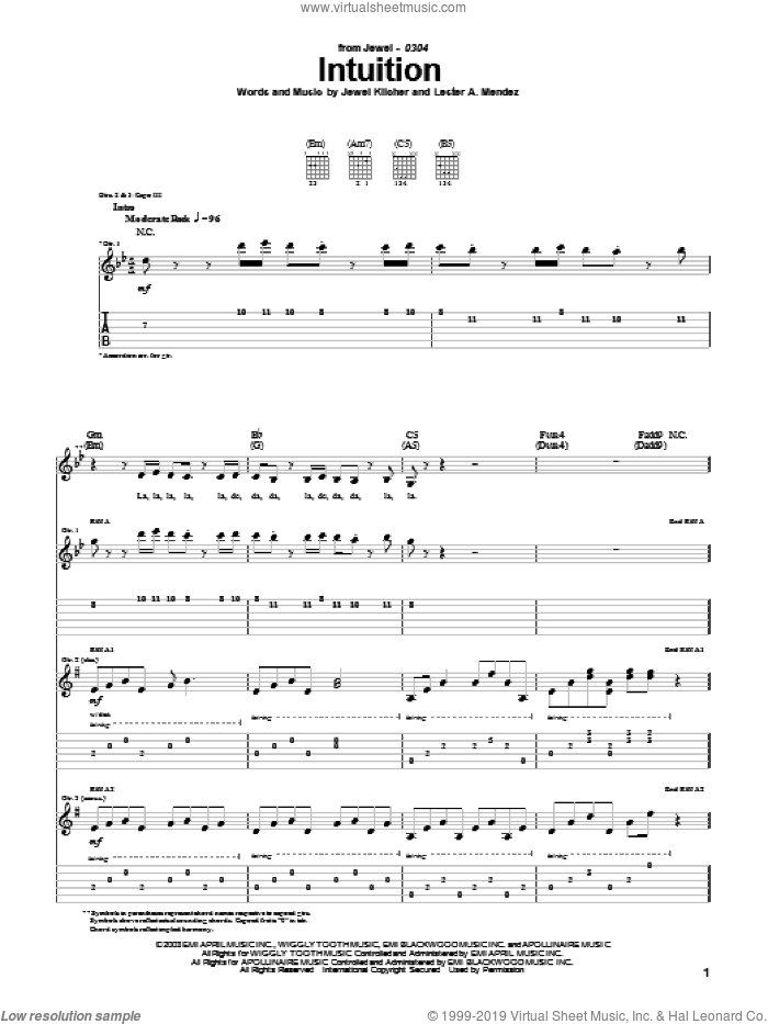 Intuition sheet music for guitar (tablature) by Jewel, Jewel Kilcher and Lester Mendez, intermediate skill level