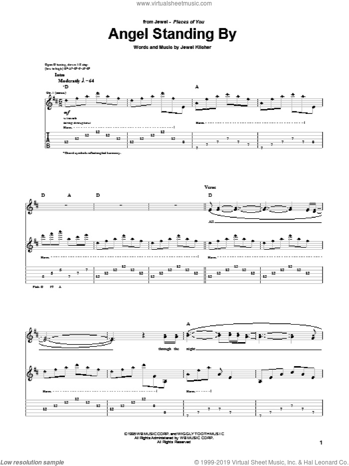Angel Standing By sheet music for guitar (tablature) by Jewel and Jewel Kilcher, intermediate skill level