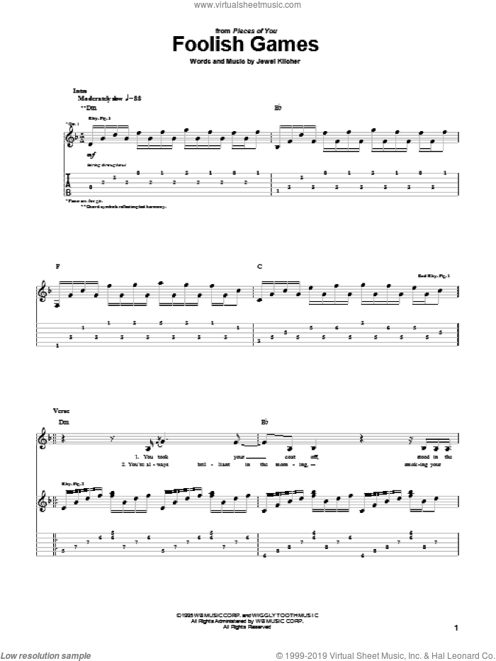 Foolish Games sheet music for guitar (tablature) by Jewel Kilcher and Jewel