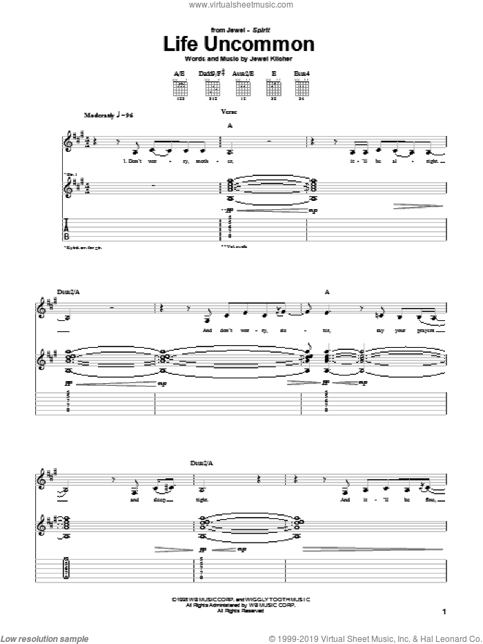 Life Uncommon sheet music for guitar (tablature) by Jewel and Jewel Kilcher, intermediate skill level
