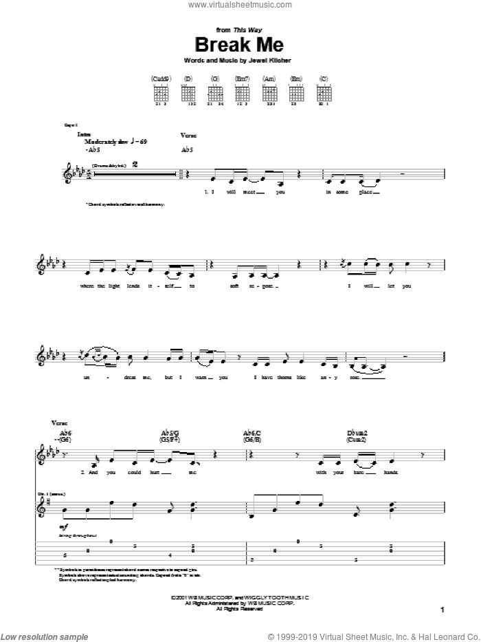 Break Me sheet music for guitar (tablature) by Jewel Kilcher and Jewel. Score Image Preview.