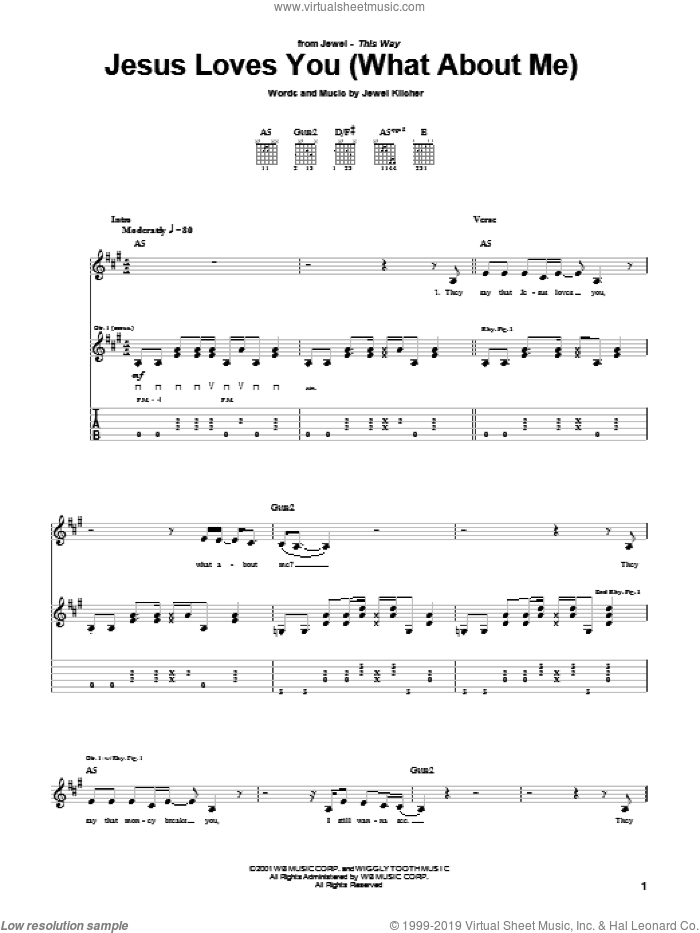 Jesus Loves You (What About Me) sheet music for guitar (tablature) by Jewel and Jewel Kilcher, intermediate guitar (tablature). Score Image Preview.