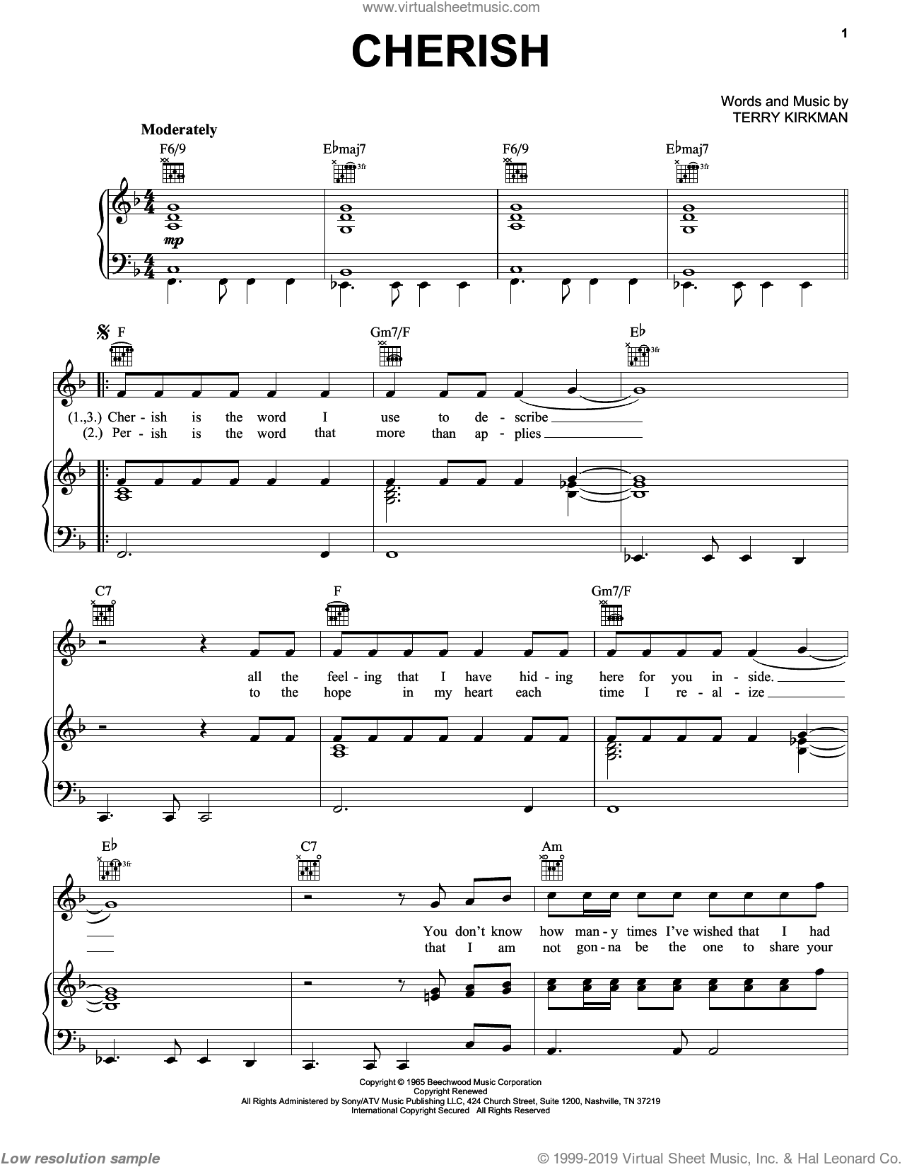 Cherish sheet music for voice, piano or guitar by Terry Kirkman