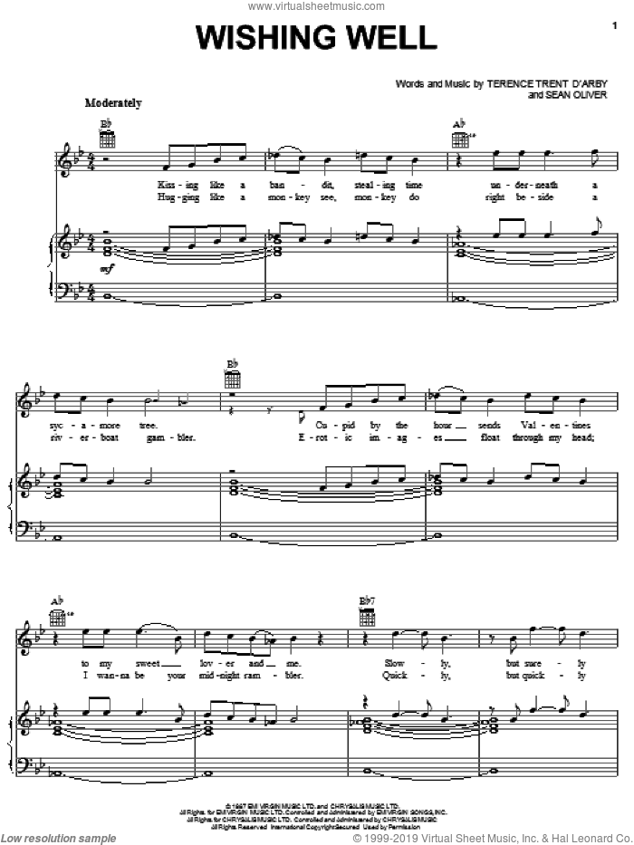 Wishing Well sheet music for voice, piano or guitar by Terence Trent D'Arby and Sean Oliver, intermediate skill level