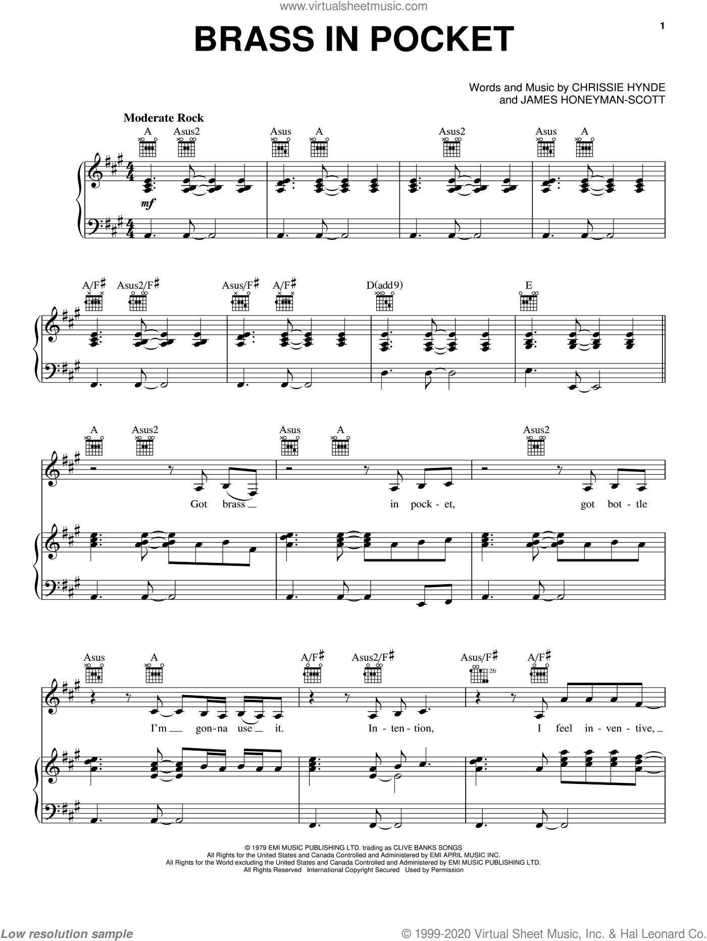 Brass In Pocket sheet music for voice, piano or guitar by The Pretenders and Chrissie Hynde, intermediate. Score Image Preview.