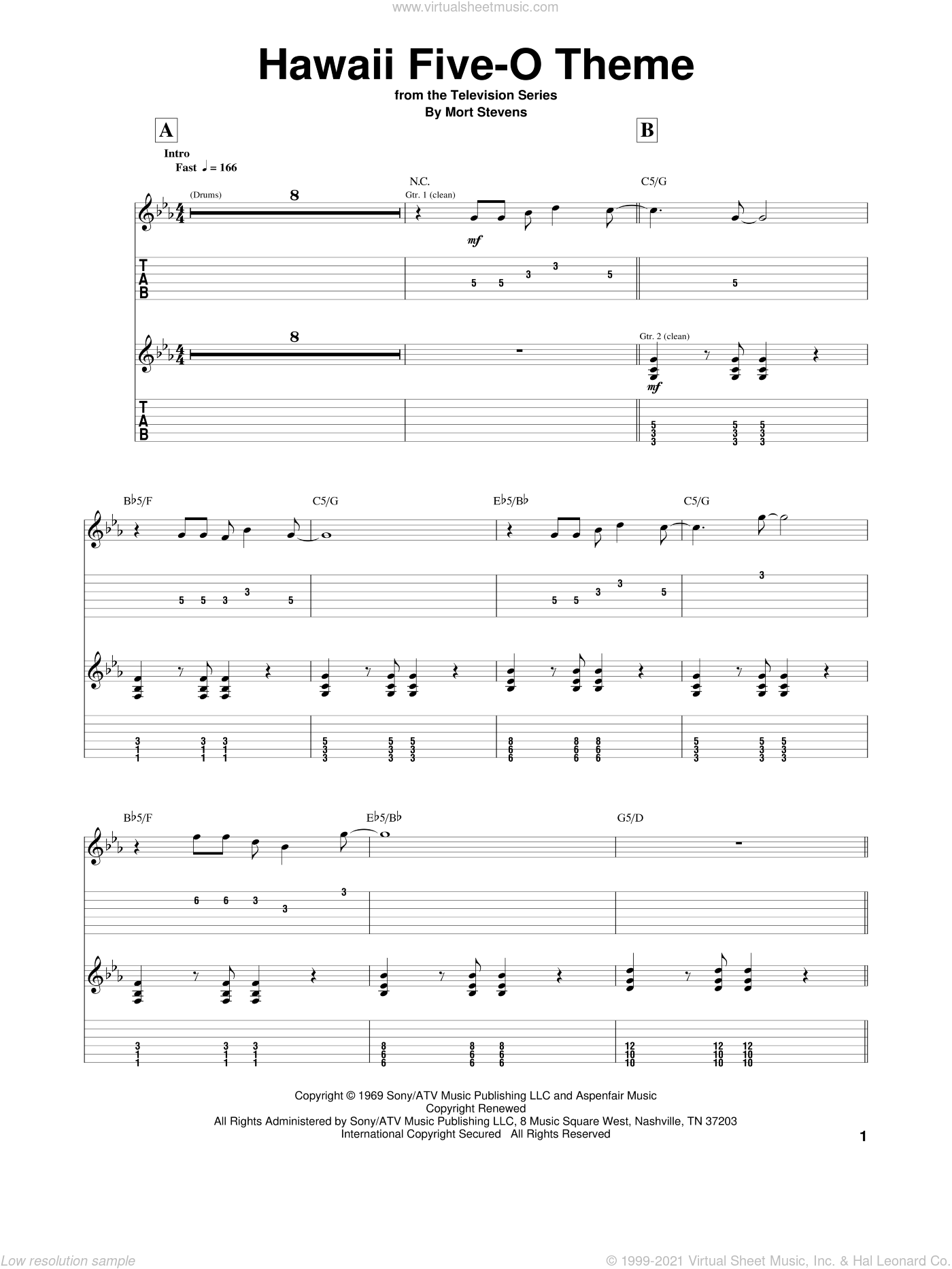 Hawaii Five-O Theme sheet music for guitar (tablature) by The Ventures and Mort Stevens, intermediate skill level
