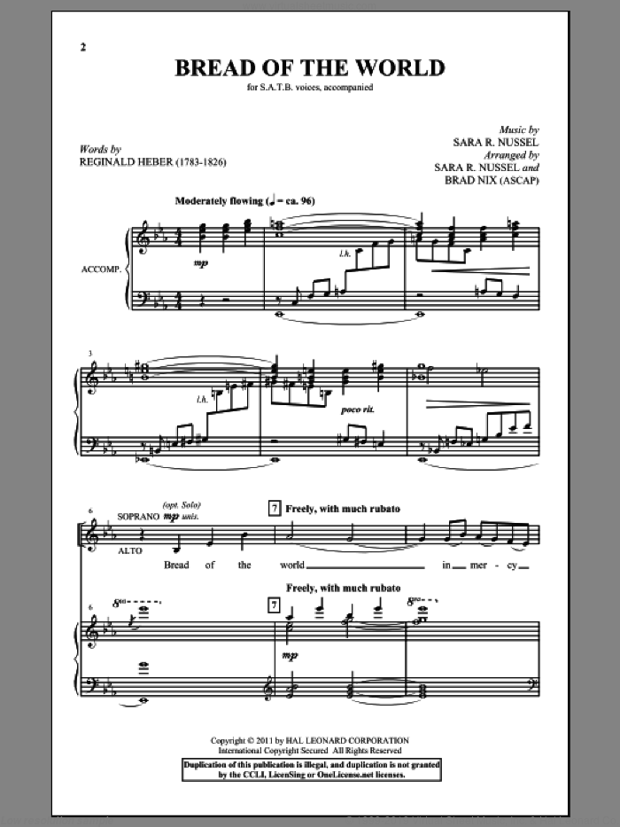 Bread Of The World sheet music for choir (SATB: soprano, alto, tenor, bass) by Reginald Heber, Sara R. Nussel and Brad Nix, intermediate. Score Image Preview.