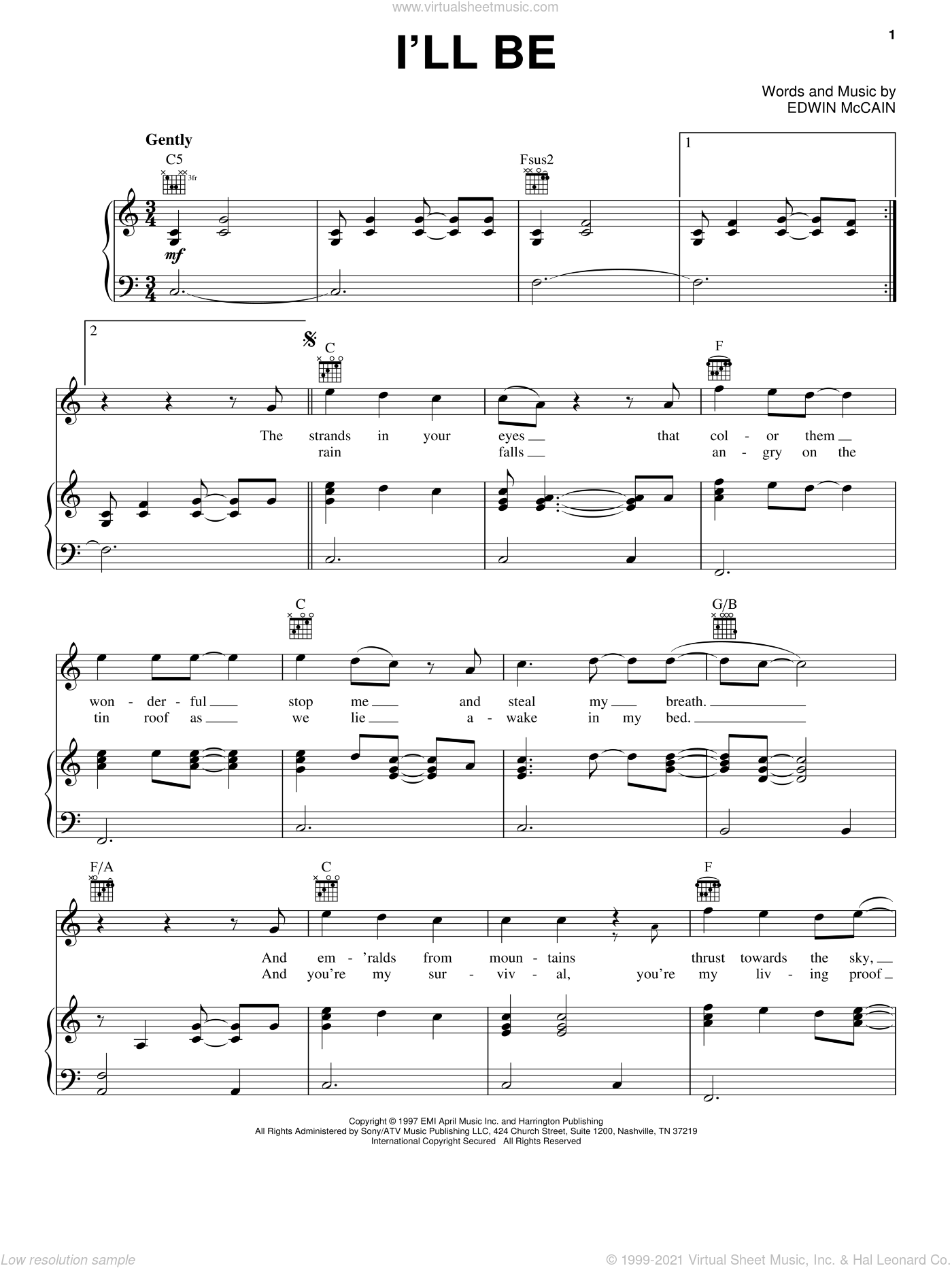 I'll Be sheet music for voice, piano or guitar by Edwin McCain. Score Image Preview.