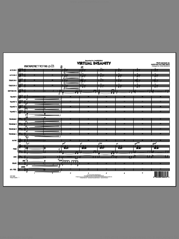 Virtual Insanity (COMPLETE) sheet music for jazz band by John Wasson, Jason Kay, Toby Smith and Jamiroquai, intermediate. Score Image Preview.