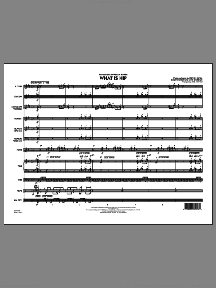 What Is Hip, complete set of parts (COMPLETE) sheet music for jazz band by Emilio Castillo, David Garibaldi, Stephen Kupka, Mike Tomaro and Tower Of Power. Score Image Preview.