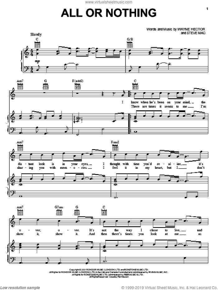 All Or Nothing sheet music for voice, piano or guitar by Wayne Hector