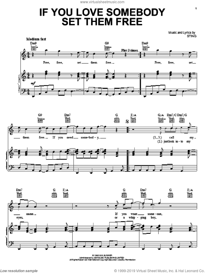 If You Love Somebody Set Them Free sheet music for voice, piano or guitar by Sting, intermediate. Score Image Preview.