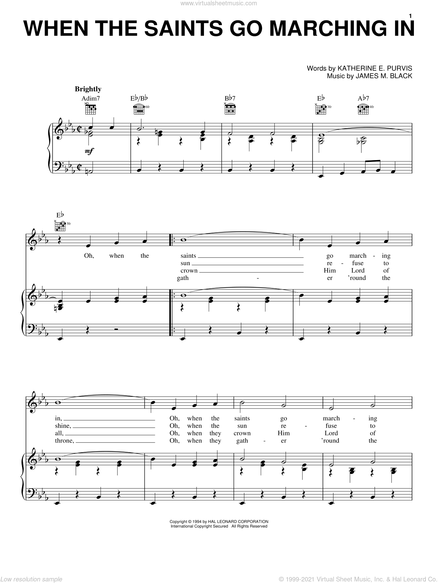 When The Saints Go Marching In sheet music for voice, piano or guitar by Louis Armstrong, James M. Black and Katherine E. Purvis, intermediate skill level