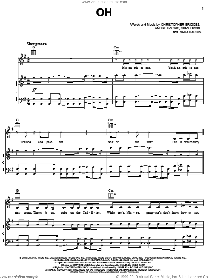 Oh sheet music for voice, piano or guitar by Vidal Davis, Ludacris, Christopher Bridges and Clifford Harris. Score Image Preview.