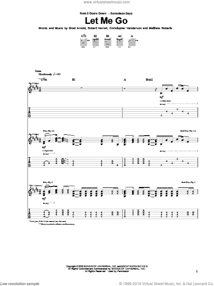 Let Me Go sheet music for guitar (tablature) by 3 Doors Down, intermediate guitar (tablature). Score Image Preview.