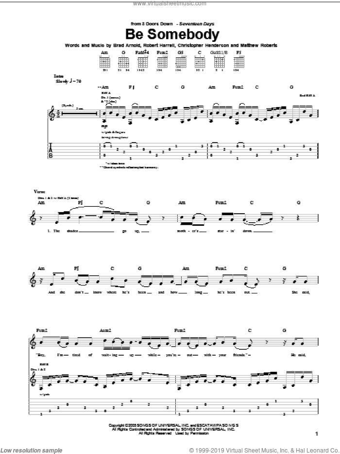 Be Somebody sheet music for guitar (tablature) by 3 Doors Down, Brad Arnold, Christopher Henderson, Matthew Roberts and Robert Harrell, intermediate skill level