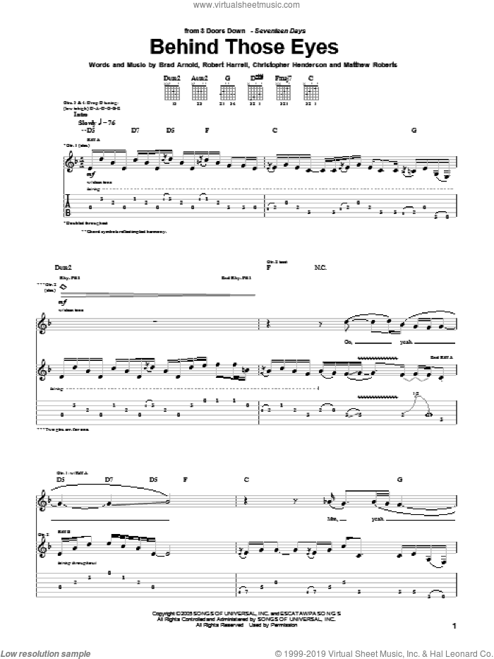Behind Those Eyes sheet music for guitar (tablature) by 3 Doors Down, intermediate guitar (tablature). Score Image Preview.