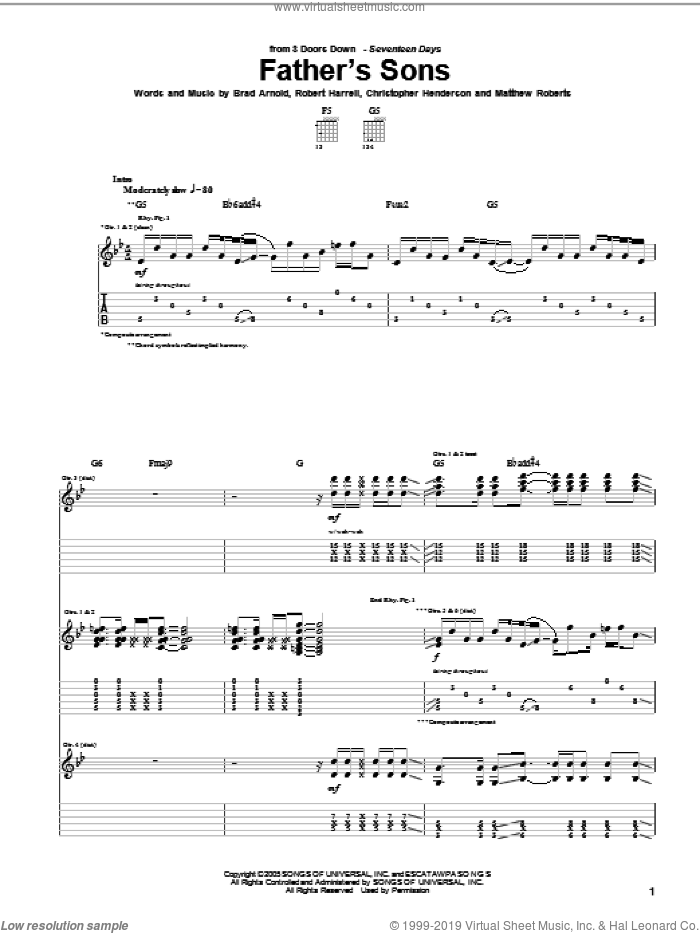 Father's Sons sheet music for guitar (tablature) by Robert Harrell and 3 Doors Down. Score Image Preview.