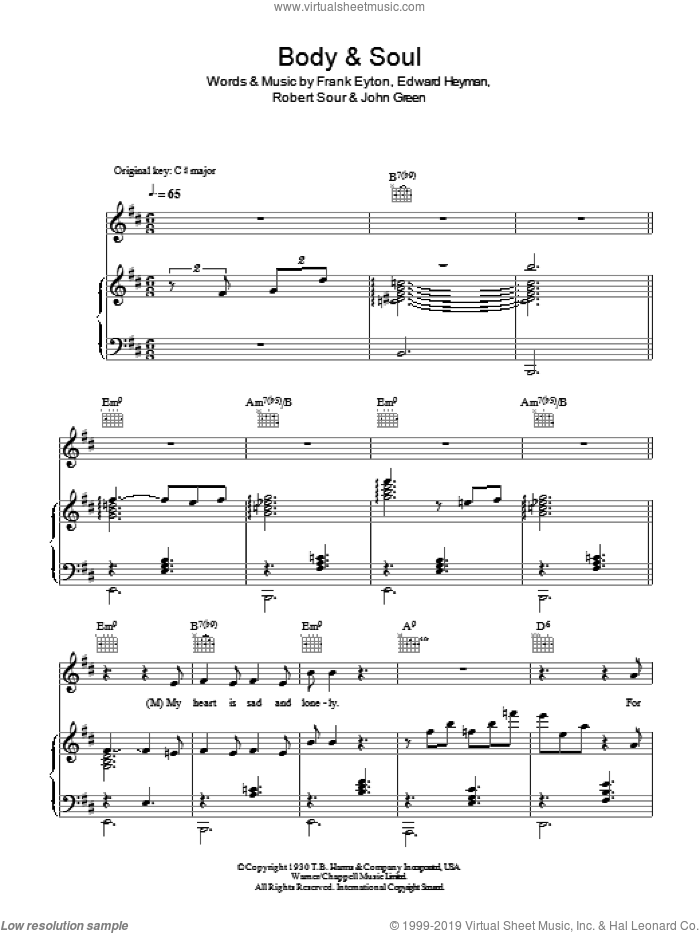 Body And Soul sheet music for voice, piano or guitar by Robert Sour, Diana Krall, Tony Bennett & Amy Winehouse, Edward Heyman, Frank Eyton and Johnny Green. Score Image Preview.