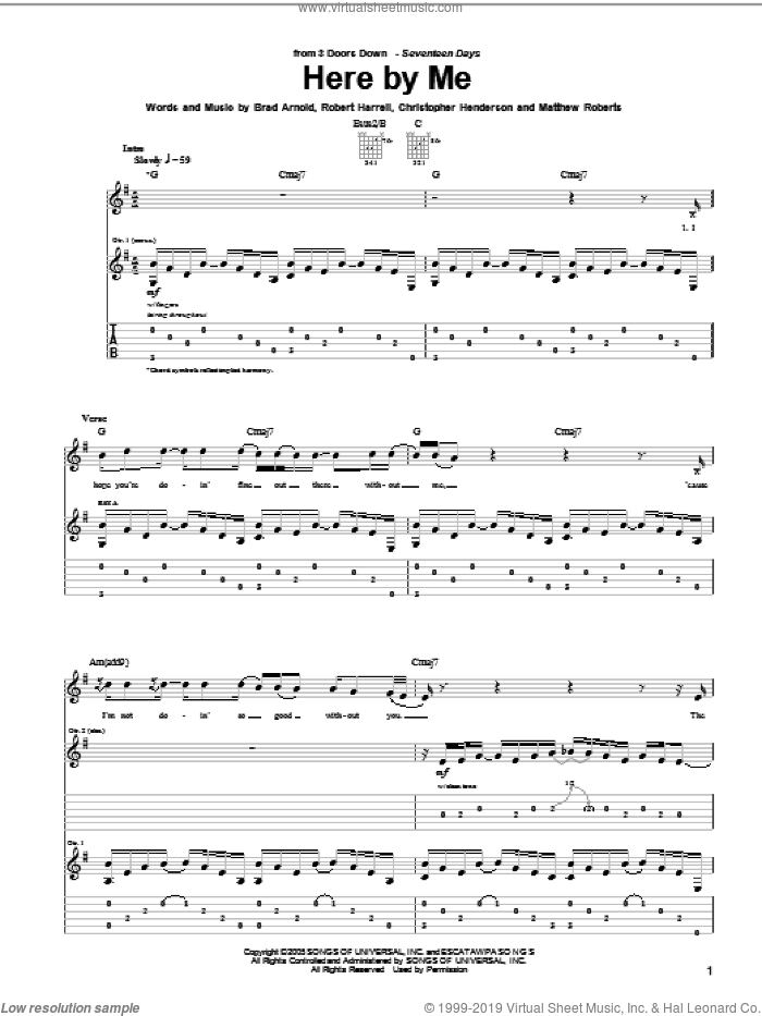 Here By Me sheet music for guitar (tablature) by 3 Doors Down, intermediate. Score Image Preview.